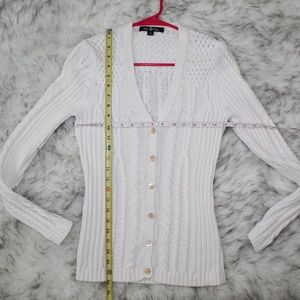 Brooks Brothers Sweaters - Brooks Brothers White Cable Knit Button Cardigan